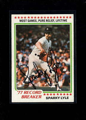 1978 Topps #2 Sparky Lyle Authentic On Card Autograph Signature Ax2001