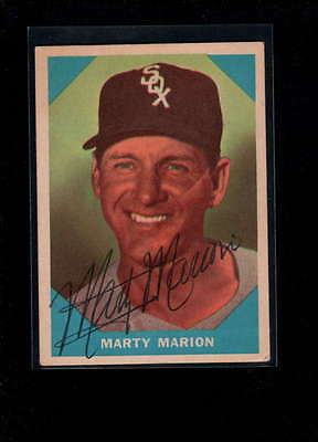 1960 Fleer  #19 Marty Marion Authentic On Card Autograph Signature Ax1949