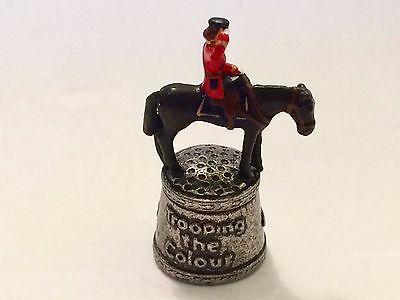 "A Hand Painted Pewter Thimble of ""HM Queen Elizabeth Trooping the Colour"""
