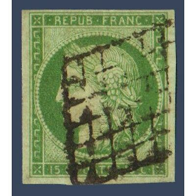 N°2 TYPE CERES 15c. VERT, TIMBRE OBLITERE GRILLE SIGNE BRUN 1850