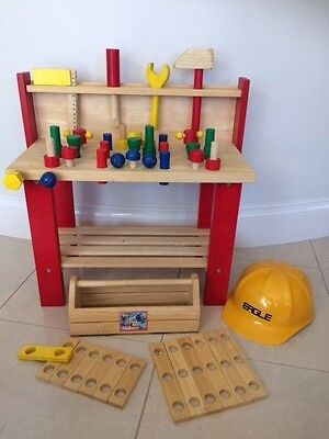 Kids Wooden Toy Workbench, tool box, accessories & hard hat - total 46 piece set