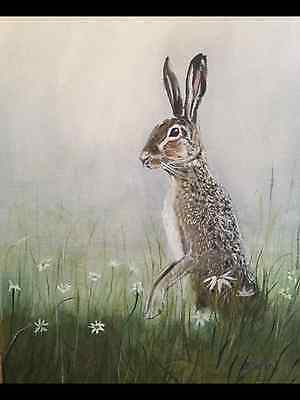 Original Oil Painting  On Canvas Board Standing Hare rabbit Hunting Wildlife