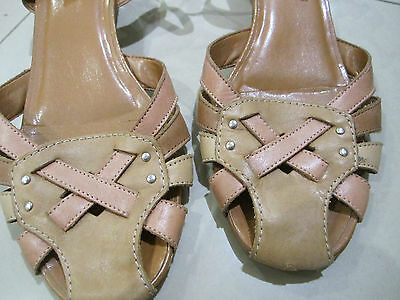 Vintage womens leather tan cream peach sandals shoes made in brazil Size 10