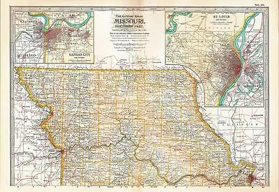 1902 Antique Map Illinois-South. Century Atlas.Copyright 1897.Chicago inset.