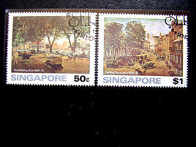 SINGAPORE 1976 PAINTINGS OLD SINGAPORE Issue PART SET of TWO VALUES Fine Used.