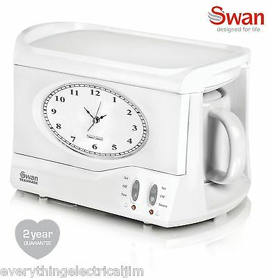 Swan STM201N Vintage Teasmade with Alarm Clock White - Brand New