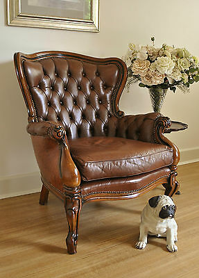 Vintage Button Back Leather Chesterfield Louis XV Rococo Style Chair Armchair