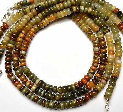 Natural Multicolor Chrysoberyl Cats Eye Smooth 6.5MM Rondelle Beads Necklace 16""