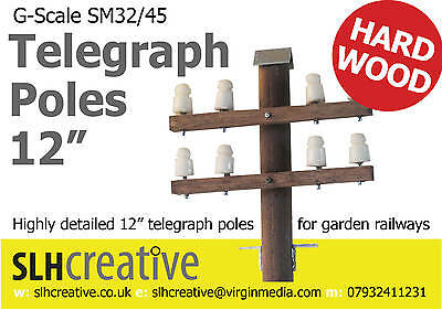 """STAINED HARD WOOD 12"""" TELEGRAPH POLES g scale sm32/45 garden railway"""