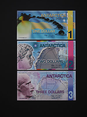Antarctica  Banknotes  - Genuine & Brilliant Set Of 3 Notes   * Superb Unc *