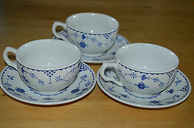 Furnivals Blue Denmark Cups and Saucers x 3