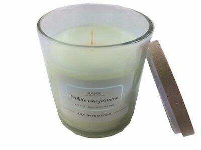 35 Hrs WHITE ROSE JASMINE Scented Glass Candle Cracking Natural Wood Wick Bamboo