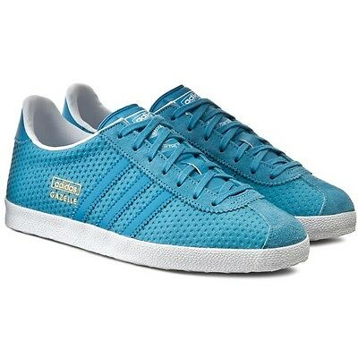 f16d11bbb6c WOMENS ADIDAS GAZELLE OG Originals Leather Classic Shoes Trainers Blanch Sea