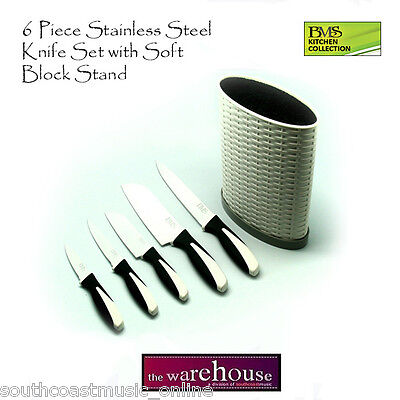 White Block Knife Set 6 Piece Stainless Steel Blades Knives Brand New