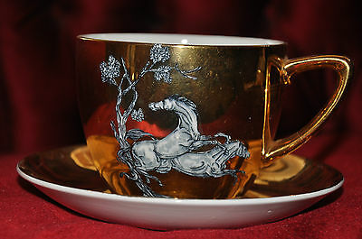 Gold Art Deco Grandfather Cup & Saucer with Pegasus Horse Motif