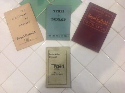 Vintage motorcycle books and manuals.