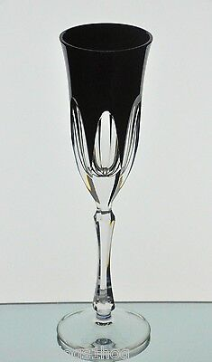 Ajka Faberge Black Lausanne Cased Cut to Clear Crystal Wine Champagne Flute New