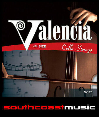 VALENCIA CELLO STRINGS STRING SET 4/4 FULL SIZE STEEL w BALL END BRAND NEW