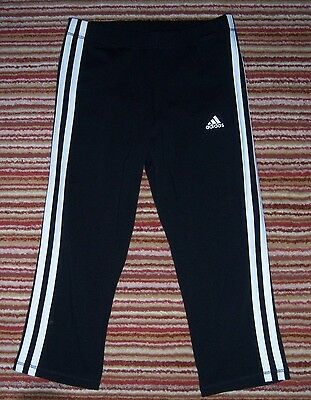 Adidas Performance Black with white stripes 3/4 leg trousers age 13-14 BNWT