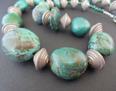 Collier Naturelle Fermoir Perles Argent 925 Turquoise Natural Stone Silver Beads