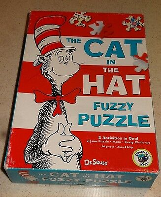 Vintage  The Cat and the Hat Fuzzy Puzzle, Dr. Suess   GUC!