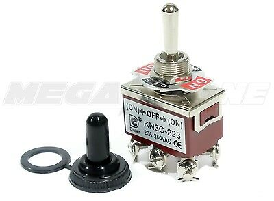 Toggle Switch Heavy Duty 20A/125V Momentary DPDT (ON)-OFF-(ON) w/Waterproof Boot