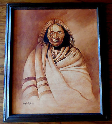 Navajo oil painting of old chief by Douglas Yazzie Navajo artist 1992 Chinle AZ