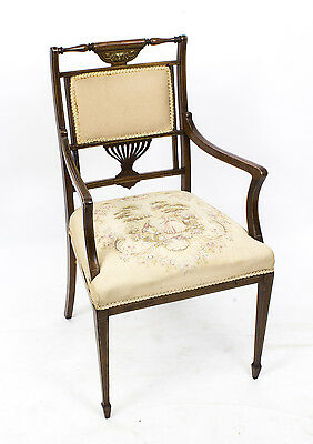 Antique Edwardian Rosewood Inlaid Open Armchair c.1880
