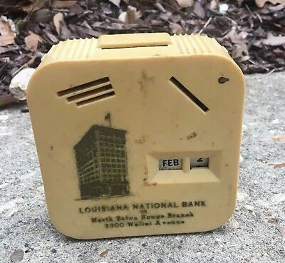 Vintage Louisiana National Bank 1947 Yellow Square Antique Bank