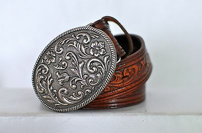 Tooled/Stamped Justin Brown Leather Belt w/ Buckle 38-40