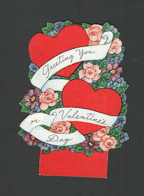 Vintage Valentines Day Card Heart & Flowers GREETING You on VAlentines Day