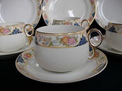 NORITAKE NIPPON- c.1912- CUP & SAUCER(s)-RING HANDLE-BOWL SHAPE- GREAT!! GILT!!