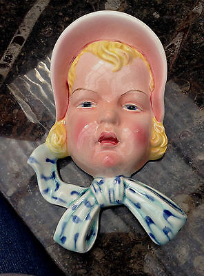 Beswick Art Deco Wall Mask Girl in Bonnet 1930s Large rare