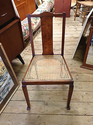 Antique Edwardian Walnut and Cane Bedroom Chair C 1910