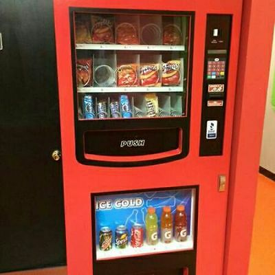 combo GAINES SODA SNACK VENDING MACHINE Office food truck deli Coke Ams
