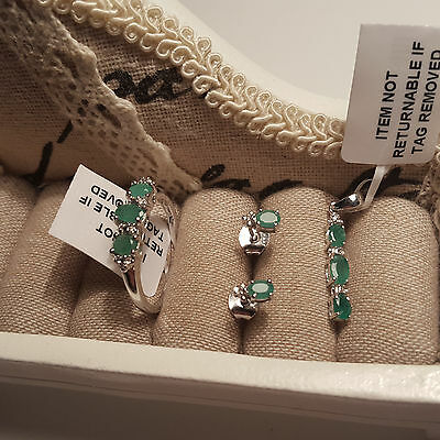 Zambian Emerald  trilogy ring,pendant & earrings set in platinum over S/Silver