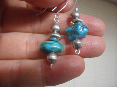 Vtg Navajo Pearls Blue Turquoise Bench Bead Dangle Drop Sterling Silver Earring