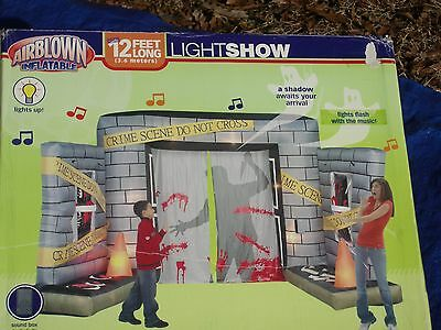 Gemmy Airblown Inflatable OVER 12' Halloween Crime Scene MUSICAL Lightshow-NEW