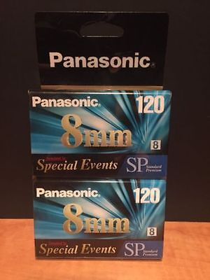 2 TWO Panasonic 8mm Camcorder Tape 120 SP Videocassette Tapes Sealed