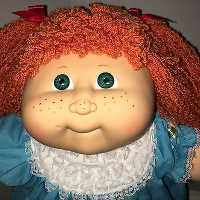 MINT P Cabbage Patch Kids FRECKLES Doll Red Crimped Full Hair In Ruffle Dress