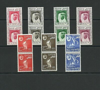 Qatar 1961 Definitives to 75 paize in pairs MNH