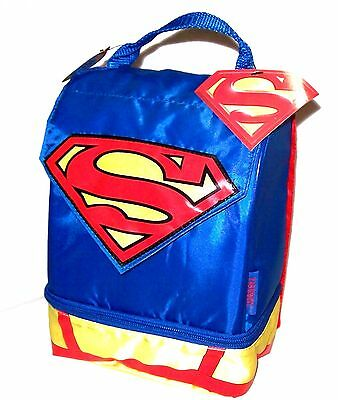 NWT SUPERMAN with CAPE Insulated Dual-Compartment Lunch Box Bag Kit by THERMOS
