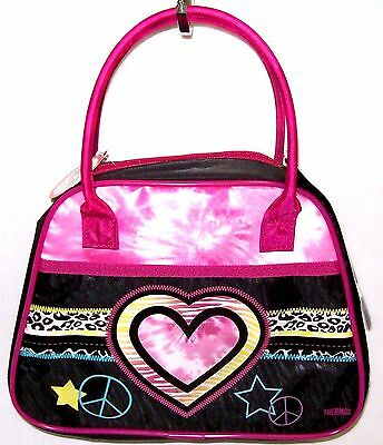 NWT Girls Heart Insulated Lunch Box Bag Kit Purse Front Pocket by Thermos PINK