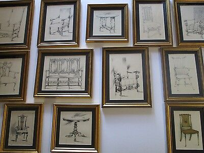 Superb 19Th Century Collection Wall Display Chair And Table Drawings Painting