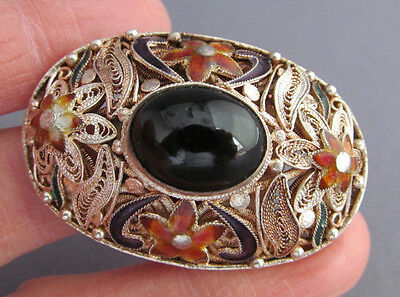 Vintage Sterling Onyx Guilloche Repousse Enamel Filigree Oval Pin Pendant Combo