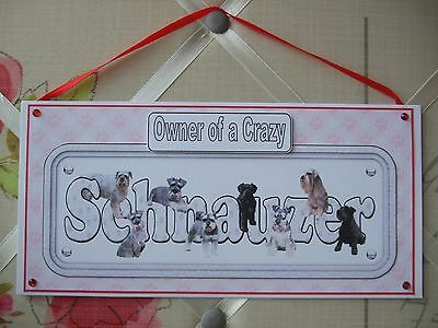 Handmade Schnauzer Owner of a Crazy Dog Hanging Sign Plaque Card Giant Mini Red