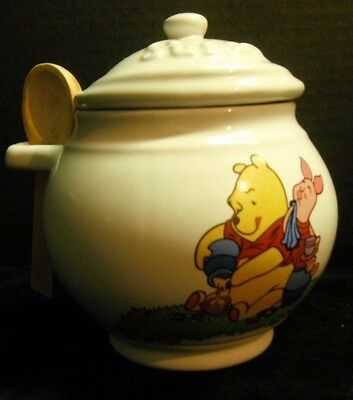Disney Winnie the Pooh and Piglet Ceramic Sugar Bowl with Wooden Spoon