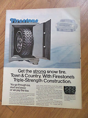 1969 Firestone Tire Ad  Firestone's Mud & Snow Tires Chevy? in the Snow