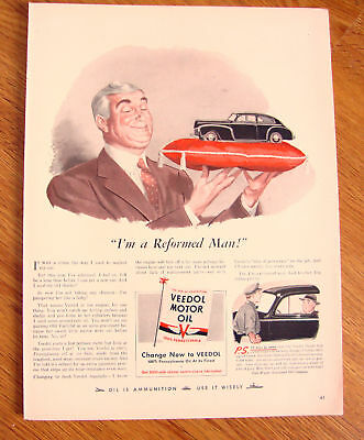 1942 Veedol Motor Oil Ad Ford Chevy Playmouth ?
