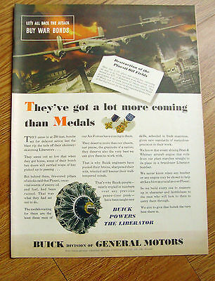 1944 Buick Ad WW II Theme  Liberators Ploesti Oil Fields Raid